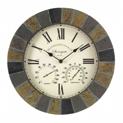 Stonegate Clock & Thermometer Slate